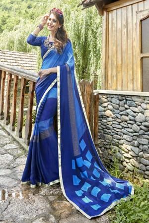 Exuberant Blue Georgette Printed  Saree