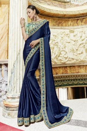 Delightful Navy blue Georgette Plain Saree