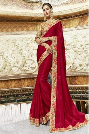 Exuberant Red Georgette Plain Saree