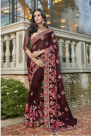 Astounding Brown Georgette Embroidery and Lace Border