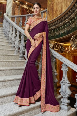 Breezy Wine Georgette Plain Saree