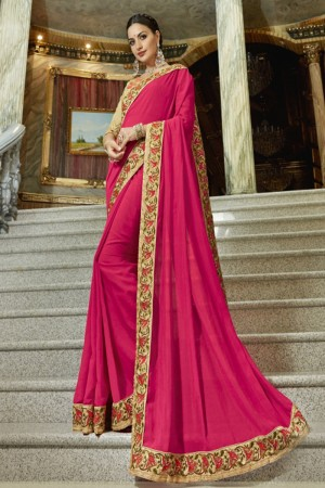 Versatile Pink Georgette Plain Saree