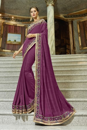 Delightful Wine Georgette Plain Saree
