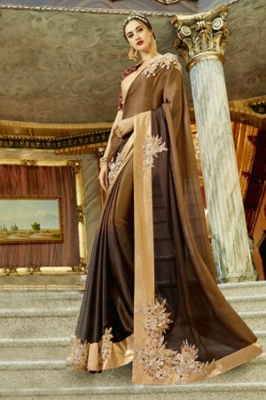 Charming Multicolor Georgette Patch work Saree