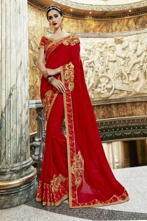 Trendy Red Georgette Patch work Saree