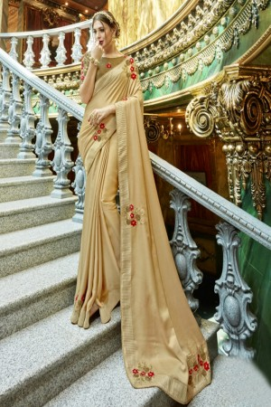 Delightful Off White Georgette Patch work Saree