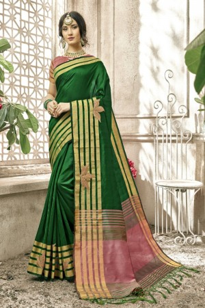 Charming Green Cotton Silk Patch work Saree