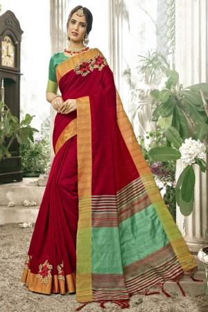 Exuberant Maroon Cotton Silk Patch work Saree