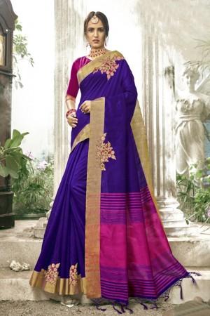 Exuberant Dark Purple Cotton Silk Patch work Saree