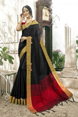 Eye catching Black Cotton Silk Patch work Saree