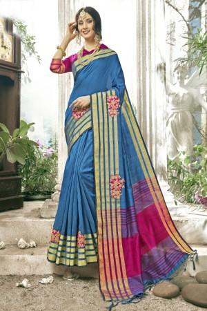 Breezy Sky blue Cotton Silk Patch work Saree