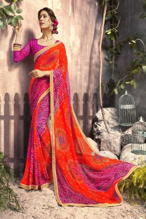 Majestic Orange Georgette Printed  Saree