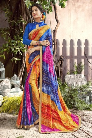 Glossy Blue Georgette Printed  Saree