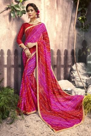 Sensuous Rani & Red Georgette Printed  Saree