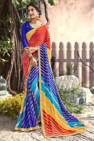 Superb Blue Georgette Printed  Saree