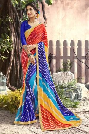 Superb Blue Georgette Printed  Saree