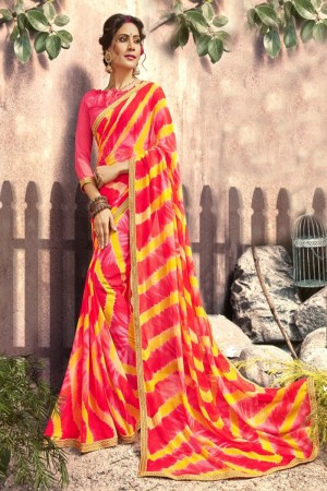 Unique Red Georgette Printed  Saree