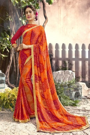 Lovely Red Georgette Printed  Saree