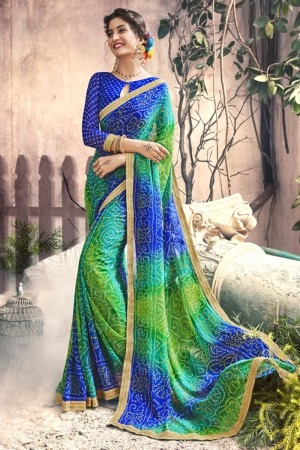 Fashionable Green & Blue Georgette Printed  Saree