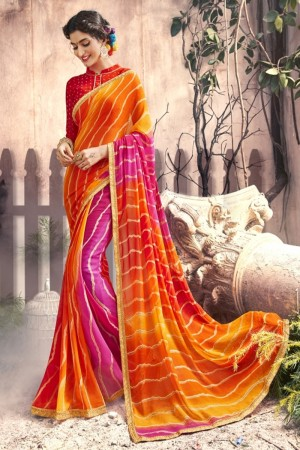Dazzling Orange Georgette Printed  Saree