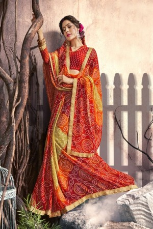 Versatile Red Georgette Printed  Saree