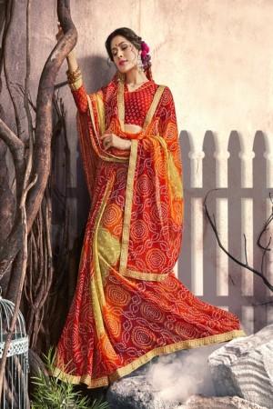 Versatile Red Georgette Printed  Saree