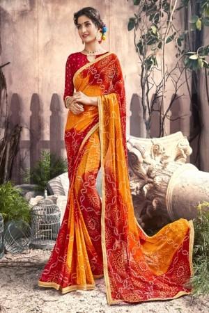 Delightful Yellow Georgette Printed  Saree