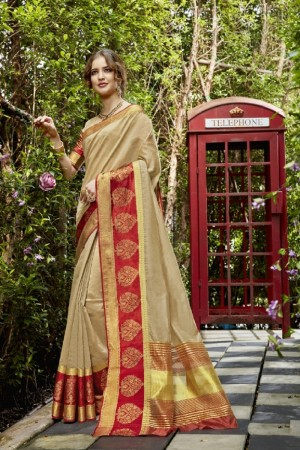 Charming Beige cotton woven Printed Saree