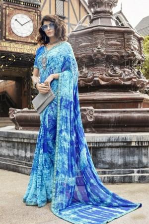 Versatile Sky Blue Faux georgette Printed Saree