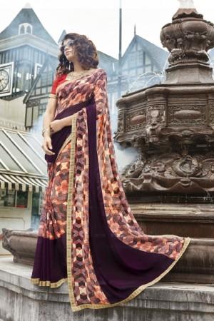 Delightful Multicolor Faux georgette Printed Saree