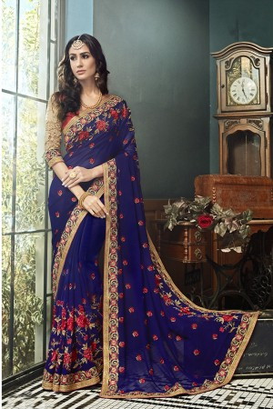 Divine Violet Georgette Embroidery and Lace Border