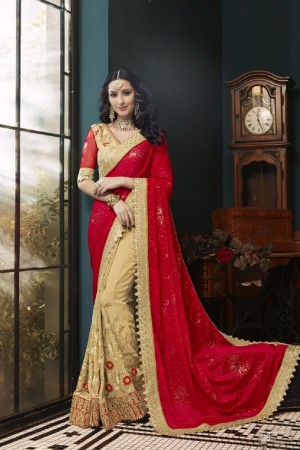 Breezy Red & Beige Georgette Embroidery and Lace Border Saree