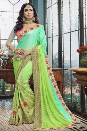 Charming Multicolor Georgette Embroidery and Lace Border Saree