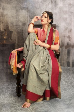 Remarkable Beige Cotton woven Printed  Saree