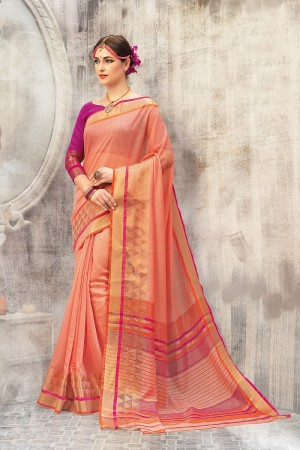 Fashionable Peach Cotton woven Printed  Saree