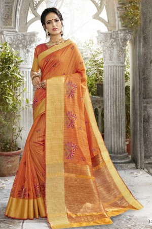 Versatile Orange Art silk Embroidery Saree