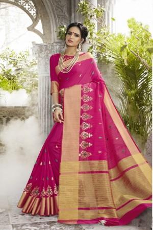 Charming Pink Art silk Embroidery Saree