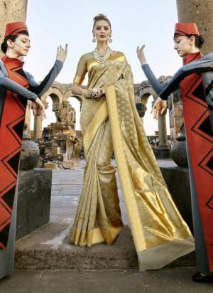 Trendy Golden Paper Silk Printed  Saree
