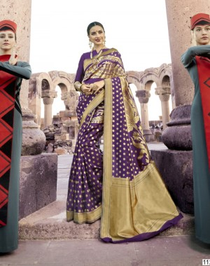 Versatile Purple Paper Silk Printed  Saree