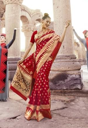 Charming  Maroon Paper Silk Printed  Saree