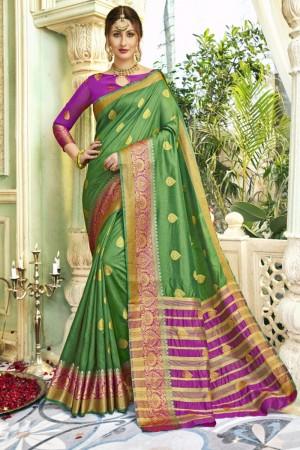 Dashing Green Art silk Printed  Saree