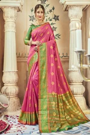 Trendy Light Pink Art silk Printed  Saree