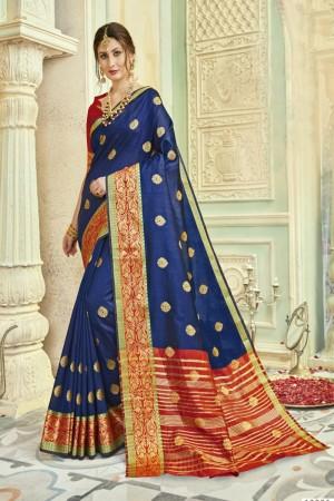 Charming Navy Blue Art silk Printed  Saree