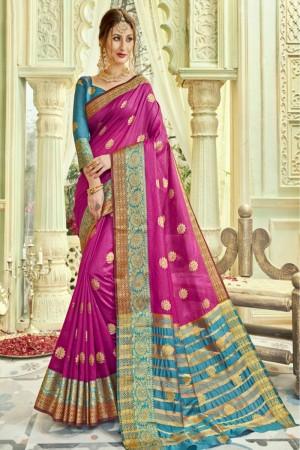 Dazzling Rani Pink Art silk Printed  Saree