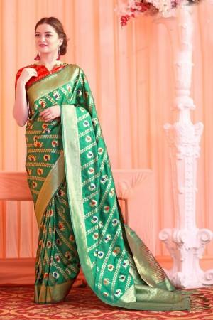 Eye catching Green Patola Silk Jacquard  Saree