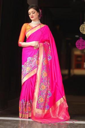 Tremendous Pink Mysore silk Jacquard  Saree