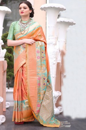 Elegant Orange Gadwal Silk Jacquard  Saree