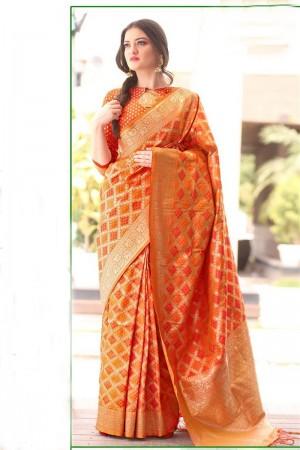 Dynamic Orange Bandhni Silk Jacquard  Saree