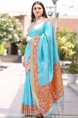 Outstanding Sky Chanderi Silk Jacquard  Saree