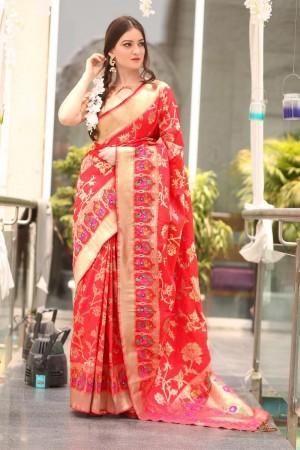 Delusive Red Paithani Silk Jacquard  Saree
